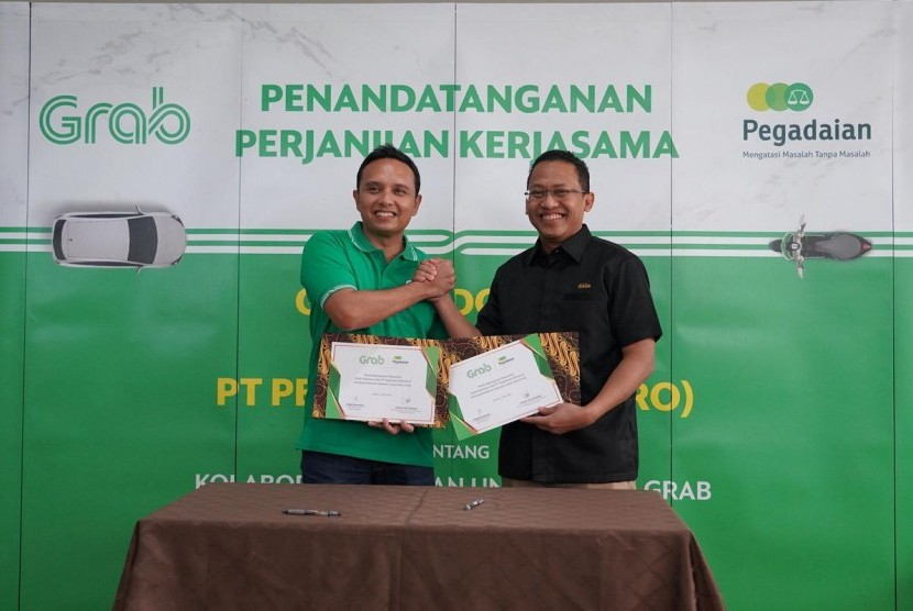 PT Pegadaian (persero) menjalin kerjasama dengan PT Solusi Transportasi Indonesia (Grab Indonesia) sebagai bentuk untuk pengembangan produk masing-masing perusahaan. Kerjasama ini merupakan bentuk program #PegadaianGrabBenefit, Selasa (21/5).