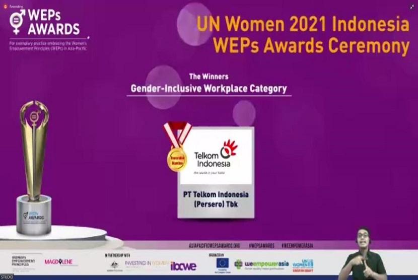 PT Telkom Indonesia (Persero) Tbk (Telkom) meraih penghargaan dalam ajang Women's Empowerment Principles (WEPs) Awards yang diadakan oleh UN Women Indonesia pada Jumat lalu (22/10).