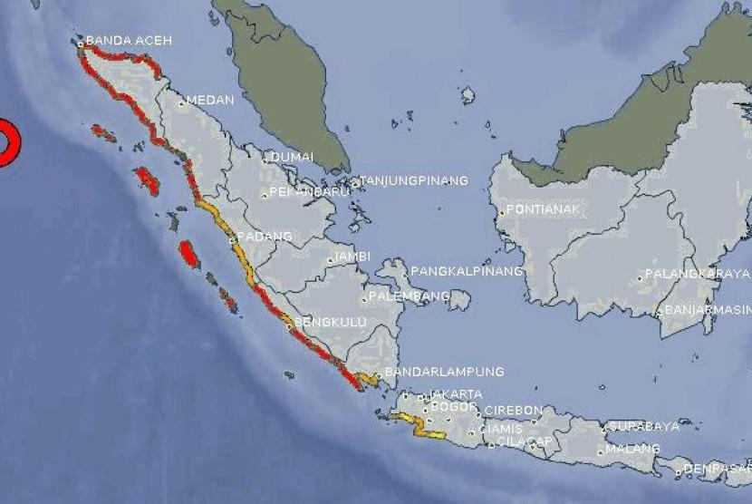 Pusat gempa di kabupaten Simeulue Nangroe Aceh Darusalam