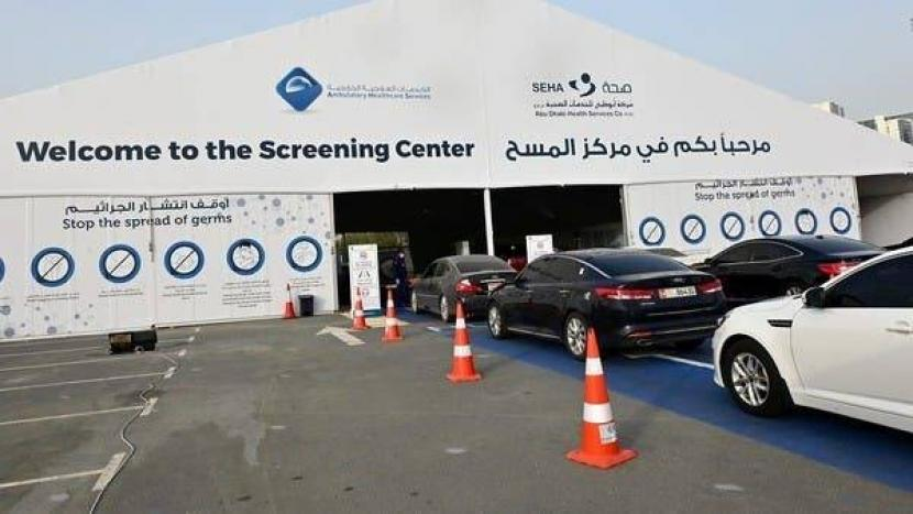 Abu Dhabi Hapus Syarat Tes Covid-19 di Perbatasan. Pusat tes Covid-19 di Abu Dhabi, Uni Emirat Arab.
