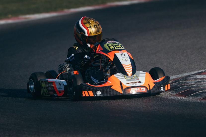 Qarar Firhand Ali, pembalap muda Indonesia berusia 10 tahun yang memperkuat tim CRK SN Racing di Italia.