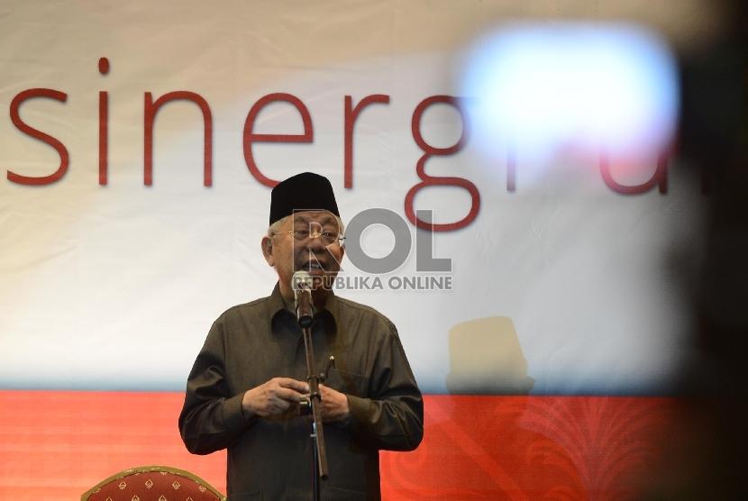 Rais Aam Nahdatul Ulama Ma'ruf Amin memberikan Tausiah singkat saat Halal bi Halal yang dilaksanakan di Menara 165, Jakarta Selatan, Rabu (12/8).