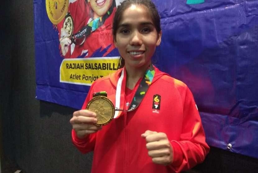 Rajiah Salsabila, atlet peraih medali emas di cabang panjat tebing nomor women's speed relay