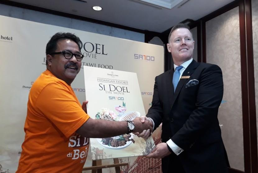 Rano Karno dalam acara promosi kuliner Betawi dan syukuran Doel The Movie di Hotel Shangri-La Jakarta, (16/7).
