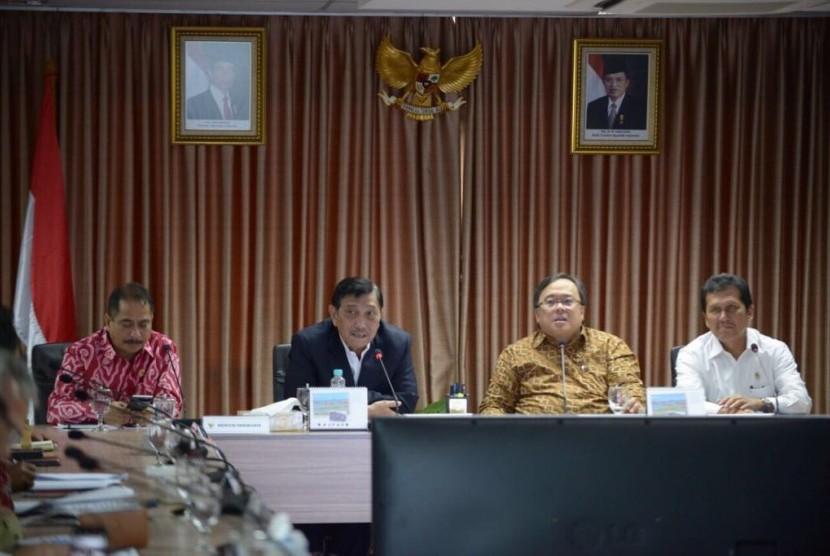 Rapat koordinasi ke-II Badan Otorita Pariwisata Borobudur (BOB) di Kantor Kemenko Maritim, Senin (22/8).