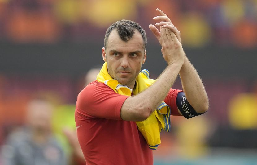 Reaksi Goran Pandev dari Makedonia Utara setelah pertandingan sepak bola babak penyisihan grup C UEFA EURO 2020 antara Ukraina dan Makedonia Utara di Bucharest, Rumania, 17 Juni 2021.
