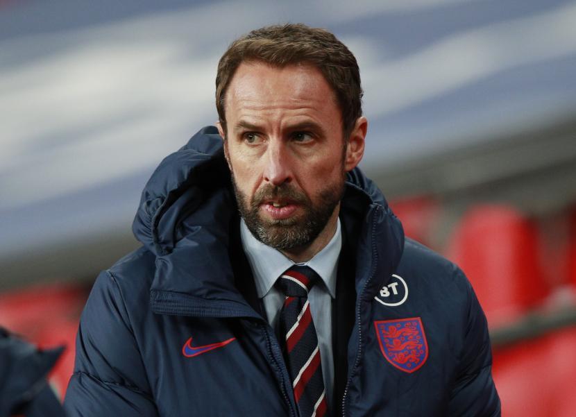 Reaksi manajer Inggris Gareth Southgate selama pertandingan sepak bola UEFA Nations League antara Inggris dan Islandia di Wembley di London, Inggris, 18 November 2020.
