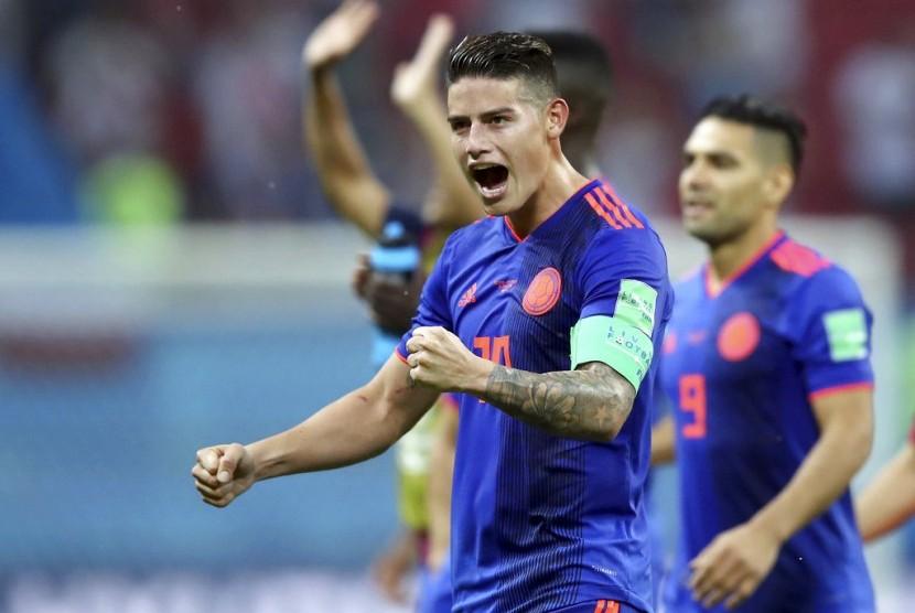 Reaksi striker Kolombia, James Rodriguez pada laga lawan Polandia di Kazan Arena, Senin (25/6) dini hari WIB. Kolombia menang 3-0 pada laga ini.