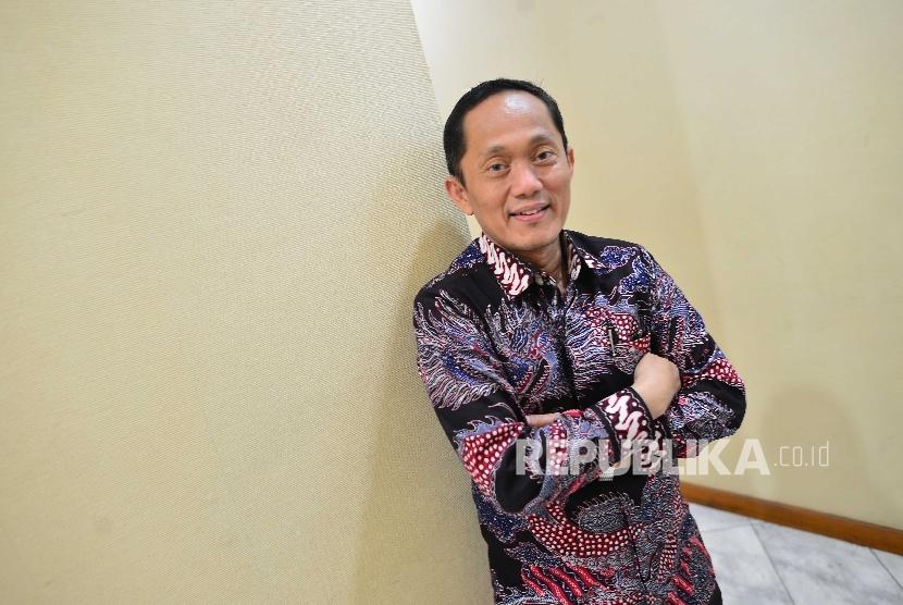 Rektor Institut Teknologi Bandung Prof. Dr.Ir. Kadarsah Suryadi di kantor Redaksi Republika di Jakarta, Rabu (7/9).