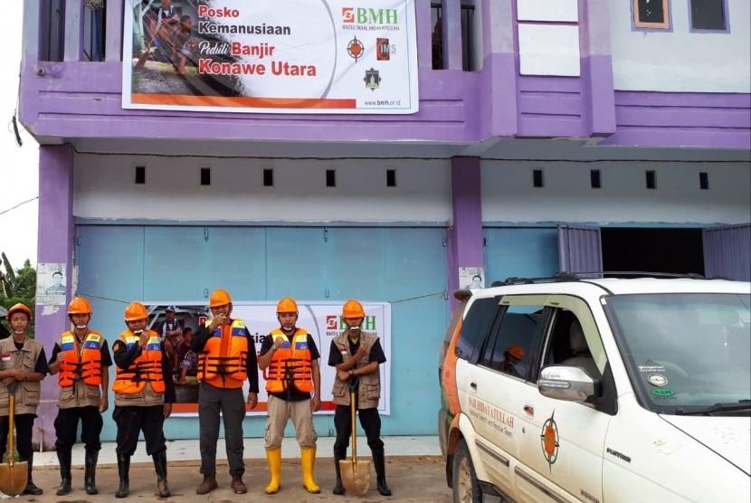 Relawan BMH tahap II tiba di Posko Bencana, Kantor DPD Hidayatullah, Konawe Utara.