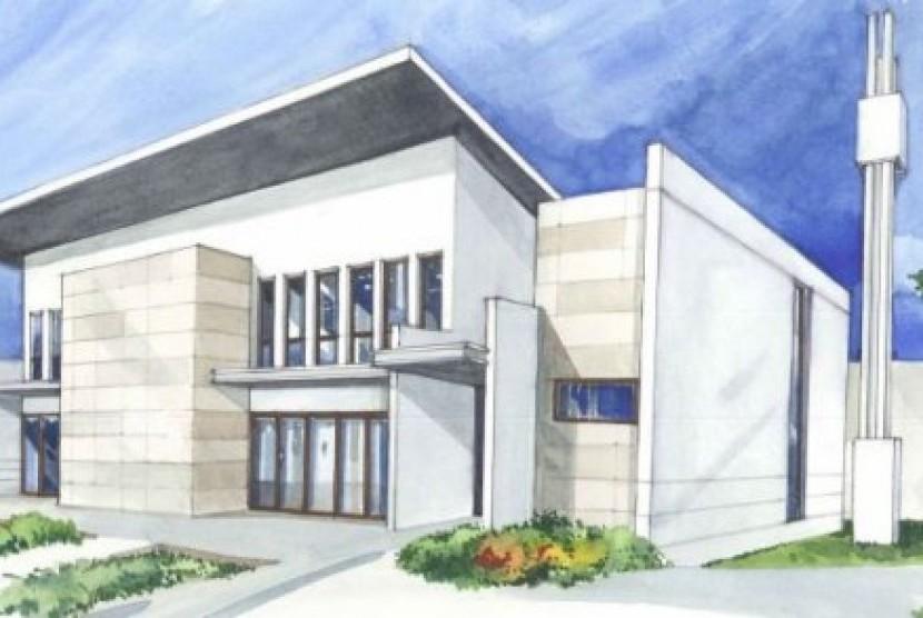 Desain gedung Islamic Centre di Canberra yang sekaligus menjadi Masjid Ahmad Al Sabah.