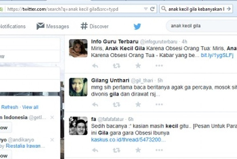 Respon netizen anak kecil gila karena obsesi ibunya