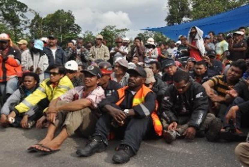 Ribuan karyawan PT Freeport Indonesia di Kuala Kencana, Timika, Papua (ilustrasi)