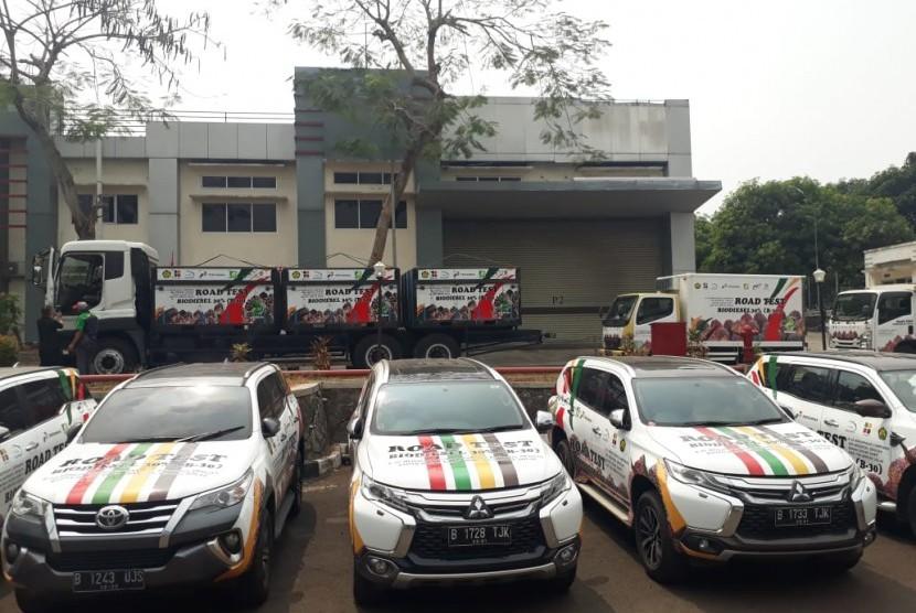 Road show uji jalan bahan bakar B30 pada kendaraan bermesin diesel di Gedung Lemigas, Kementerian ESDM, Jakarta Selatan, Kamis (5/9).