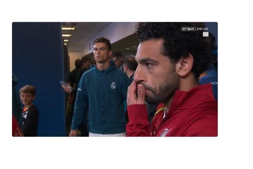 Ronaldo menatap tajam Mohamed Salah jelang pertandingan final Liga Champions