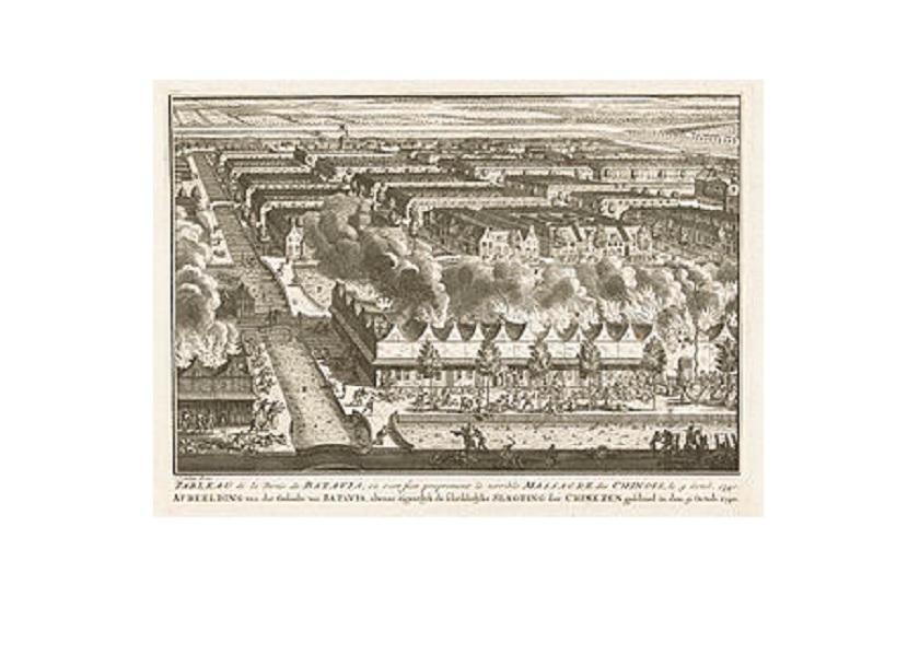 Rumah-rumah orang Cina di dekat Kali Besar, dibakar. Pembantaian 10 ribu etnis Tionghoa pada 9 Oktober 1740 menjadi salah satu tragedi memiliku di Batavia.