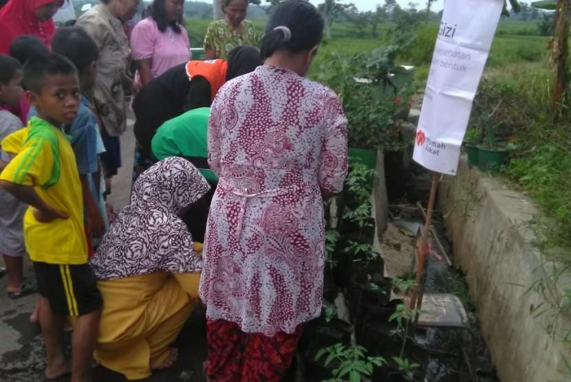Rumah Zakat mengajak ibu-ibu di Tegal untuk menanam sayuran.