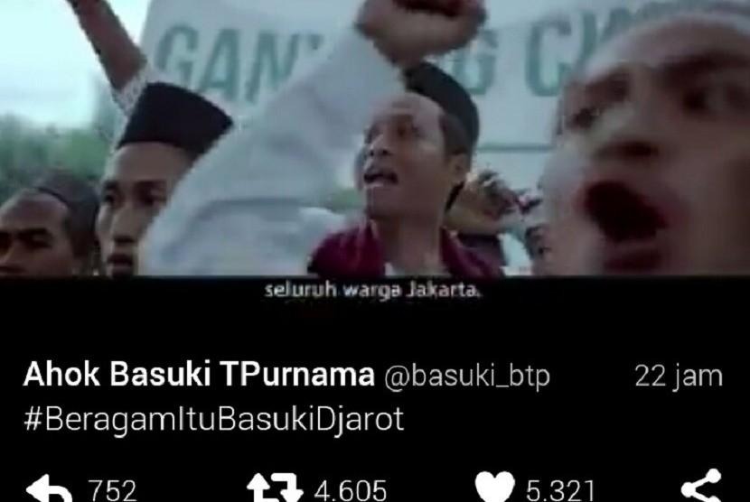 Salah satu adegan dalam video kampanye yang diunggah akun twitter Ahok Basuki T Purnama @basuki_btp