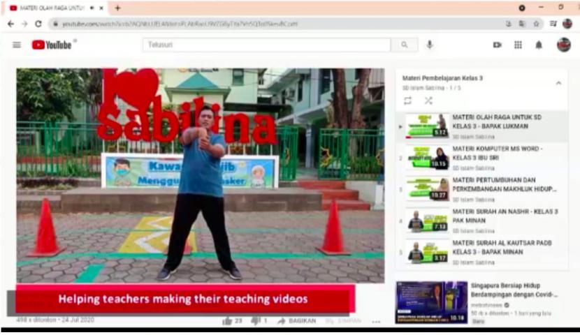 salah satu kegiatan pembelajaran daring di SD Islam Sabilina