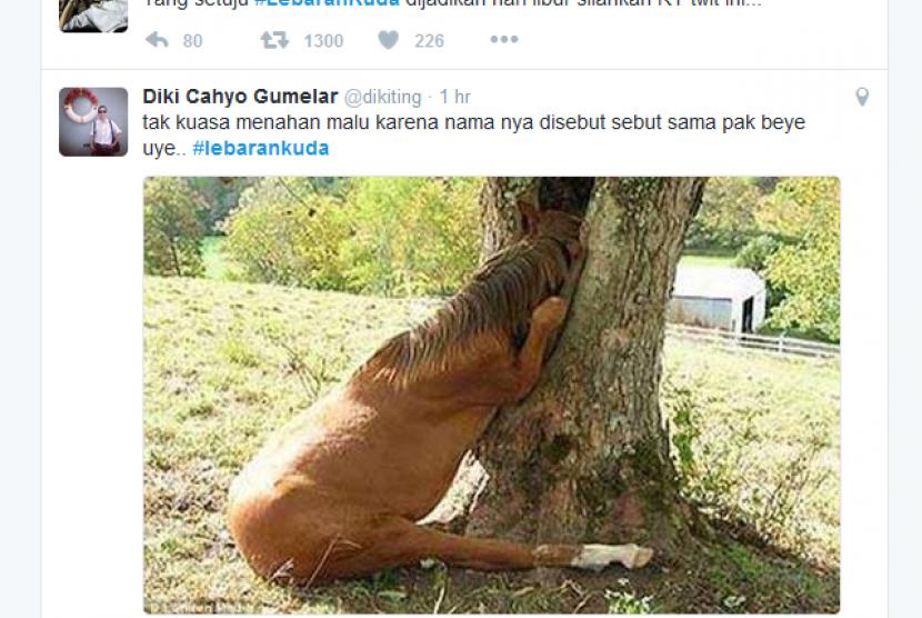 Salah satu obrolan tentang 'lebaran kuda' di media sosial terkait pernyataan mantan presiden Susilo Bambang Yudhoyono, Rabu (2/11).