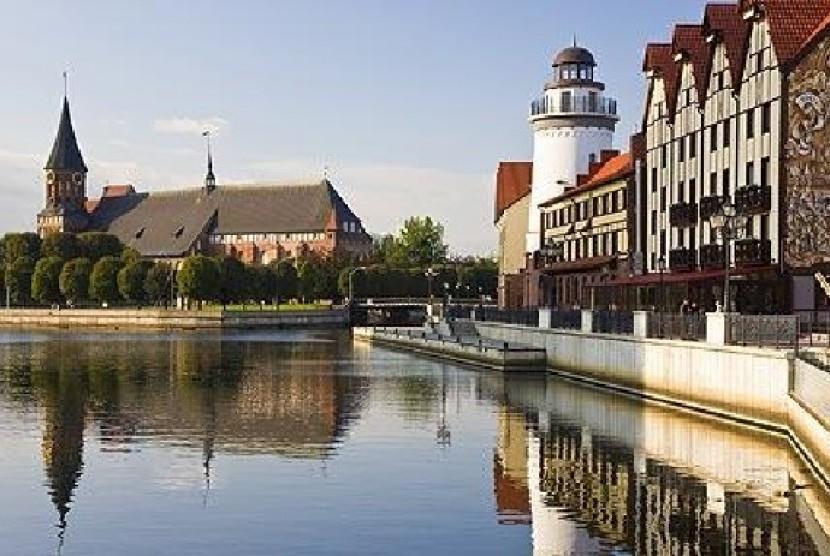 Salah satu pemandangan indah di kota tua Kaliningrad di Rusia