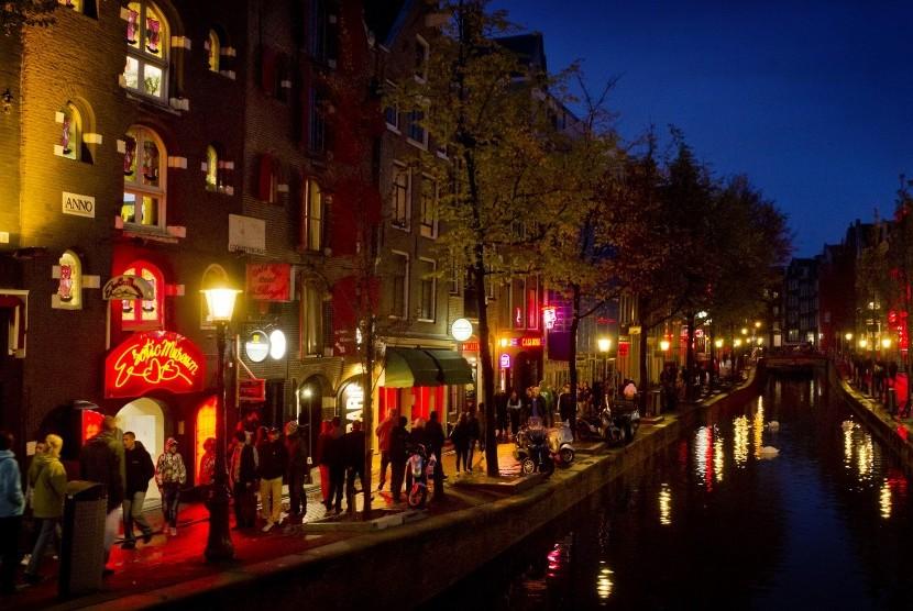 Salah satu sudut Distrik Lampu Merah di Amsterdam.