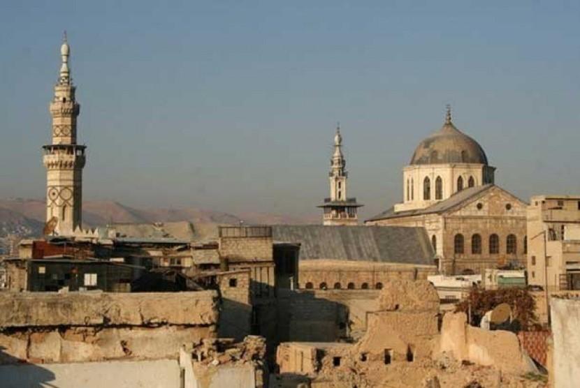 Salah satu sudut kota tua Damaskus, Suriah.