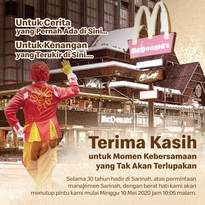 Gerai McDonald's Pertama Tutup Permintaan Manajemen Sarinah ...