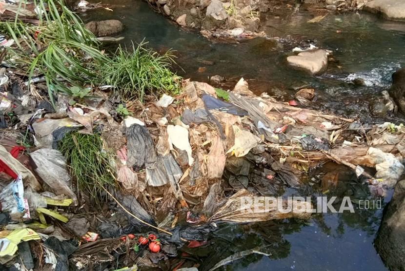 Sampah berserakan di Kali Ciomas, Kelurahan Ciomas Rahayu, Kecamatan Ciomas, Kabupaten Bogor. Kali ini sekaligus menjadi perbatasan antara Kota dan Kabupaten Bogor. Sampah yang tersangkut di bebatuan Kali Ciomas kebanyakan merupakan kantong maupun botol plastik.