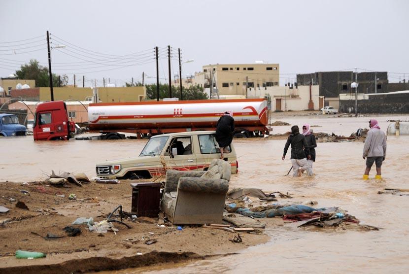 ilustrasi banjir di Arab Saudi
