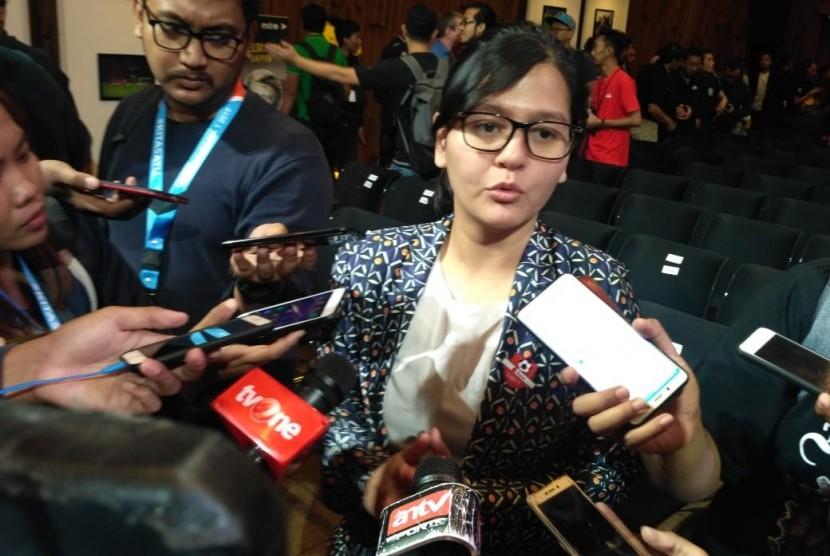 Sekjen PSSI, Ratu Tisha Destria dalam acara Launching Shopee Liga 1 2019, di Senayan City, Jakarta Selatan, Senin (13/5).