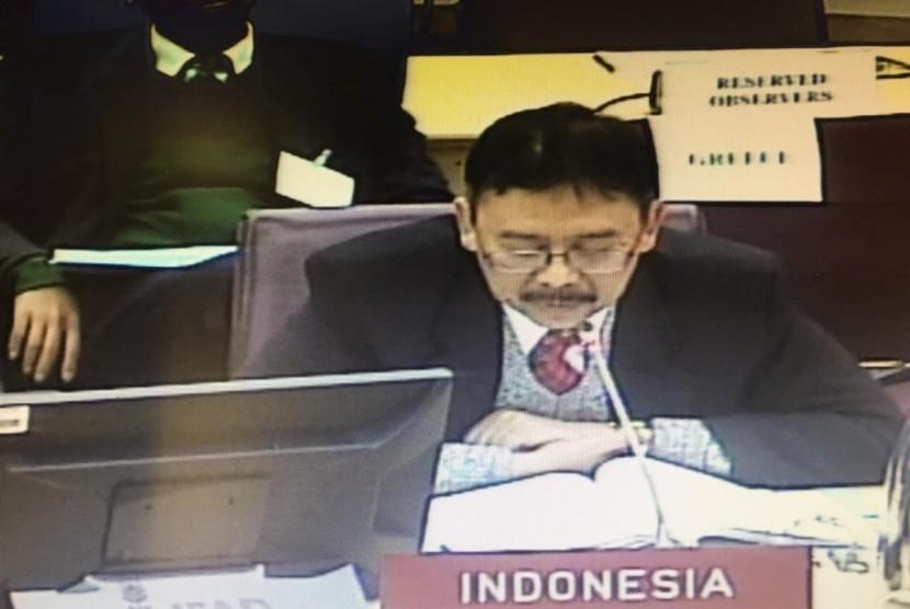 Sekretaris Jenderal Kementerian Pertanian Syukur Iwantoro saat menghadiri sidang IFD Executive Board ke-125 di Roma, Jumat (14/12).