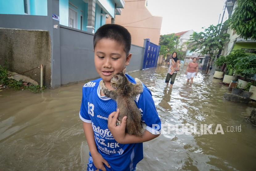 Seorang anak menyelamatkan anak kucing saat banjir yang melanda Kampung Bojong Asih, Dayeuhkolot, Kabupaten Bandung, Senin (12/11/2018).