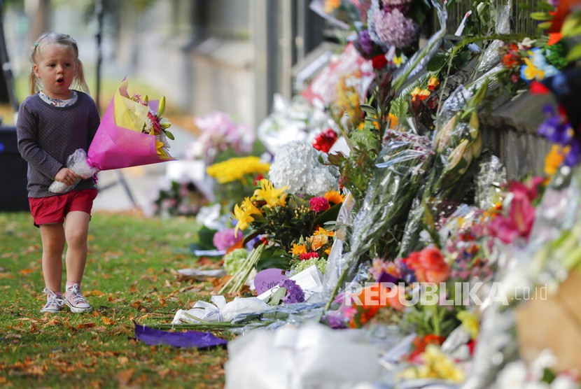 Seorang gadis kecil berjalan untuk meletakkan bunga di dinding Kebun Raya di Christchurch, Selandia Baru, Ahad, (17/3). Meletakkan bunga sebagai aksi solidaritas pascapenembakan di dua masjid Kota Christchurch pada Jumat (15/3).