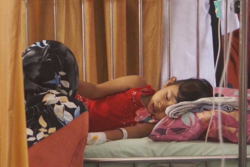 Seorang ibu menunggui putrinya yang menderita demam berdarah dengue (DBD) di RSUD dr Iskak, Tulungagung, Jawa Timur, Selasa (12/2/2019).