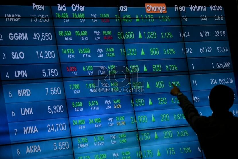 Seorang karyawan mengamati pergerakan Indeks harga saham gabungan (IHSG) pada layar elektronik di gedung Bursa Efek Indonesia, Jakarta, Rabu (22/7).