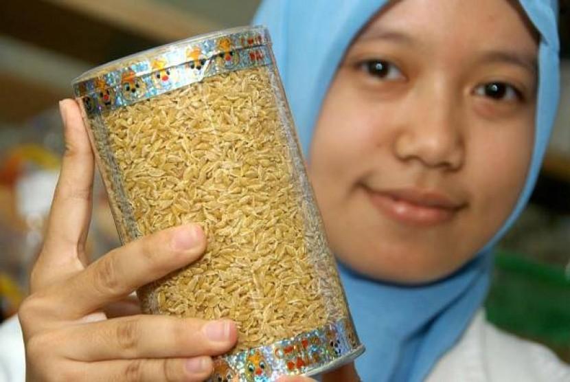 Seorang mahasiswa memperlihatkan beras tiruan hasil inovasi TEchnopark Fakultas teknologi Pertanian IPB di Kampus Dramaga, Bogor.