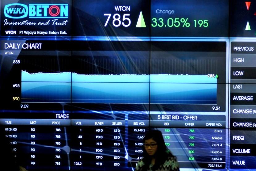 Seorang melintas saat di depan layar pencatatan saham perdana PT Wijaya Karya Beton (Persero) di BEI, Jakarta, Selasa (8/4).