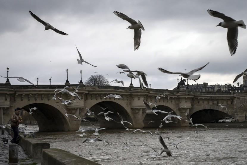 Seorang pria melemparkan roti kepada burung di Sungai Seine, Prancis. Kondisi ekonomi Eropa yang tentu membuat banyak warga Prancis berhati-hati soal keuangannya.