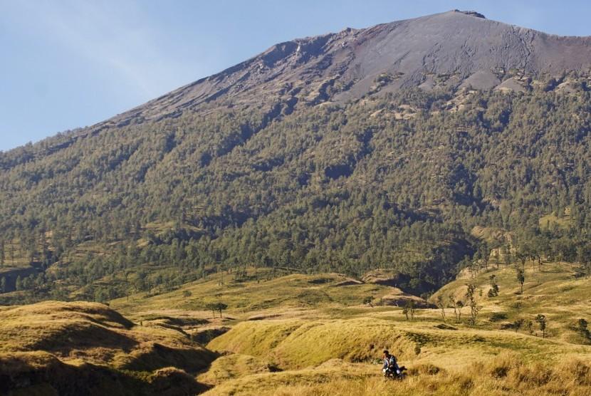 Seorang tukang ojek melintas di padang savana jalur pendakian Gunung Rinjani, Sembalun, Kecamatan Sembalun, Lombok Timur, NTB, Jumat (22/9). Rinjani merupakan salah satu potensi wisata yang menjadi sumber pendapatan daerah Lombok Timur.