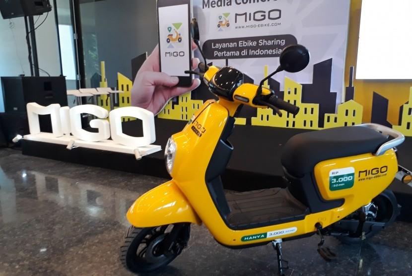 Sepeda listrik yang digunakan dalam aplikasi MIGO Ebike untuk meminjam sepeda listrik di Jakarta, Kamis (6/12).