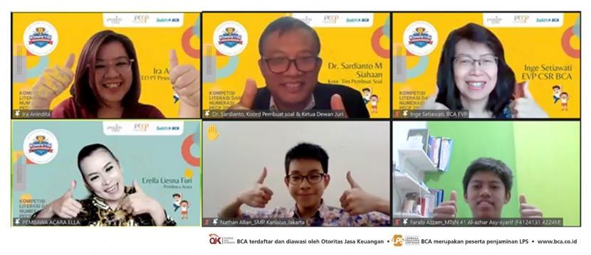 Seremoni Kompetisi Literasi & Numerasi Nasional yang dihadiri EVP CSR BCA Inge Setiawati, Direktur PesonaEdu Ira Anindita, dan Koordinator Tim Pembuat Soal Sardianto M Siahaan pada Jumat (1/10) lalu secara virtual.