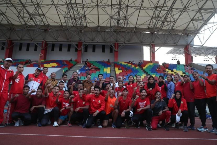 Situasi pemusatan latihan atlet kontingen Indonesia jelang ASEAN School Games di Semarang, Selasa (9/7).