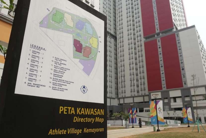 Situasi Wisma Atlet Kemayoran, Jakarta Pusat, yang tengah dipersiapkan untuk dapat dioperasikan pada Jumat (10/8).