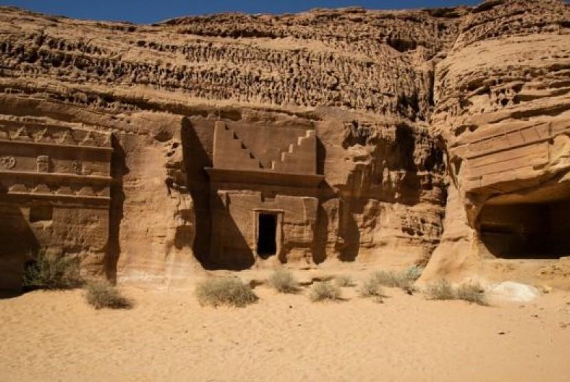 Situs besejarah di Madain Saleh yang terbuka untuk turis di Arab Saudi