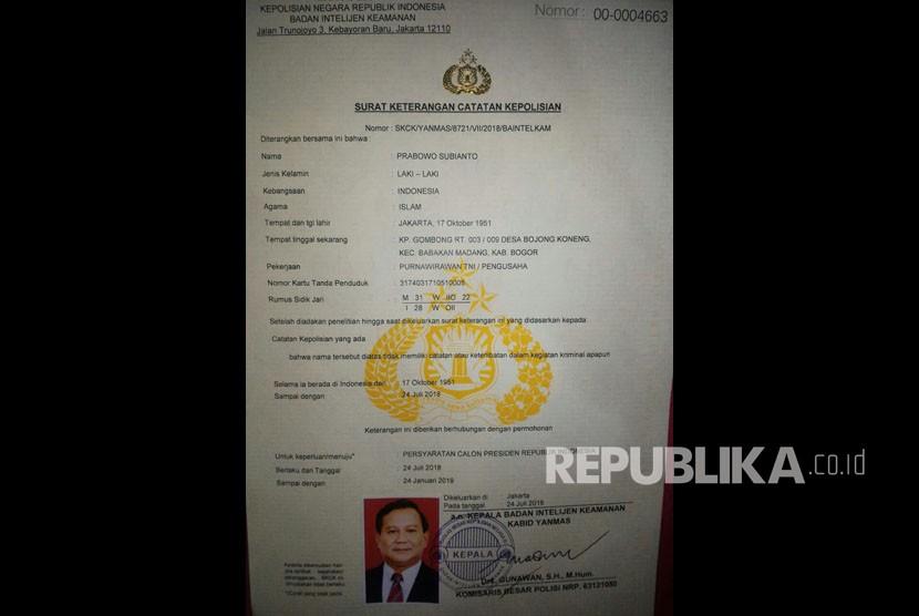 SKCK Prabowo Subianto untuk mendaftar sebagai Calon Presiden Republik Indonesia.