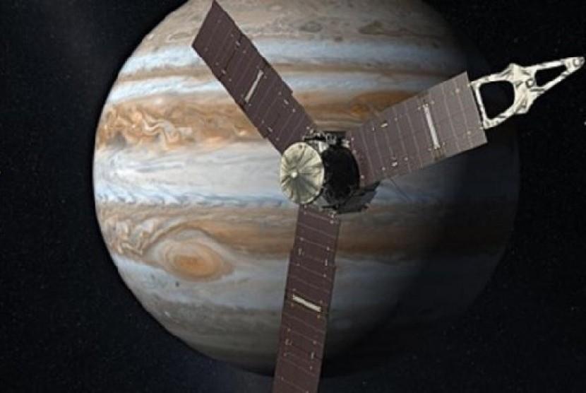 Sketsa gambar pesawat Juno dan planet Yupiter
