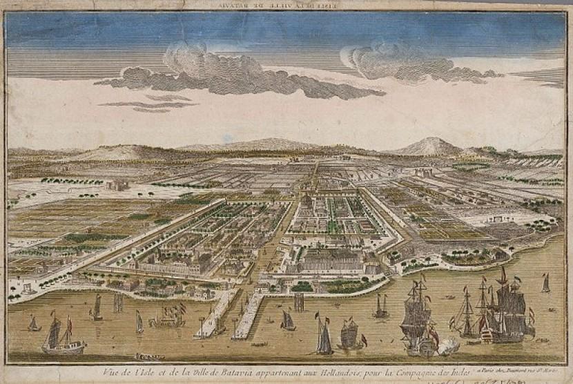 Sketsa Pelabuhan Batavia pada 1780. Saat itu Batavia beralih ke tangan penguasa Eropa setelah Malaka terlebih dulu jatuh.
