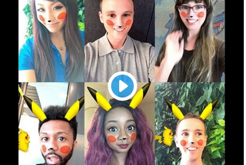 snapchat dengan filter pikachu