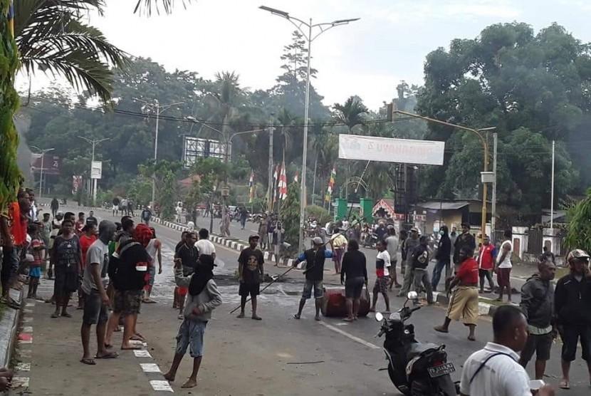 Suana kerusuhan di Manokwari, Senin pagi ini (19/8/2019).
